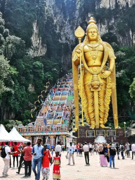 Batu Caves is guarded by the Hindu deity, Murugan