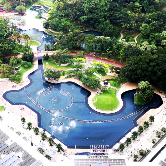 Overlook KLCC Park from the Skybridge