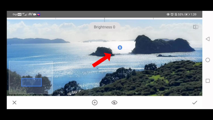 adjust brightness with selective tool in snapseed