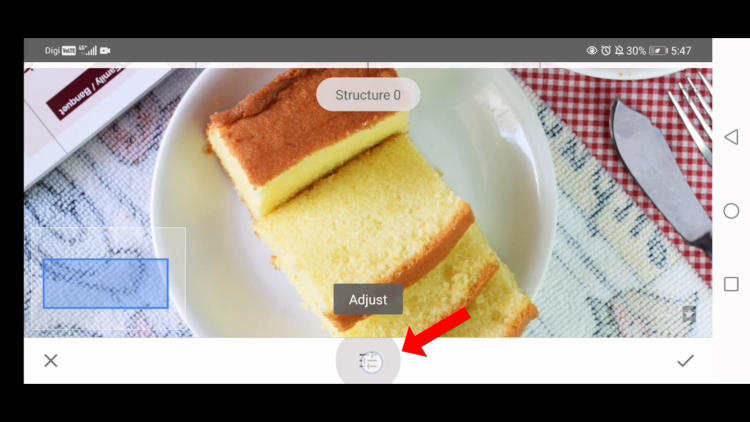 sturcture option in details tool snapseed, edit food photos