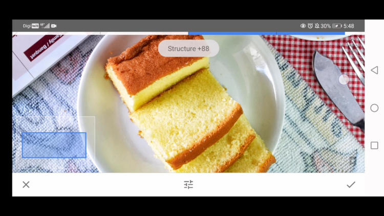 improve the texture with details tool, edit food photos