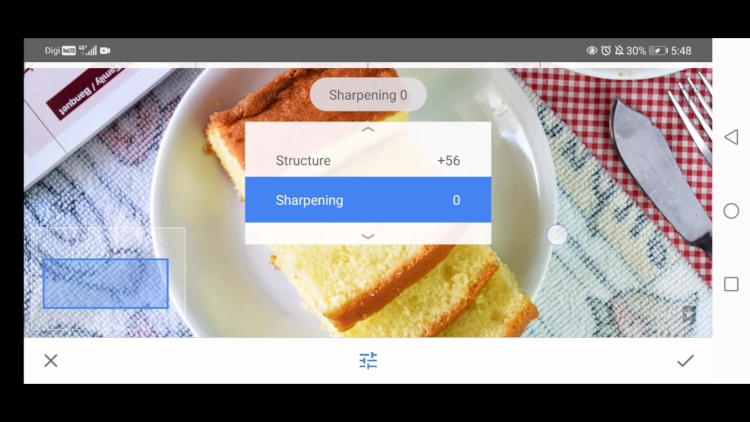 sharpening option for details tool snapseed, edit food photos