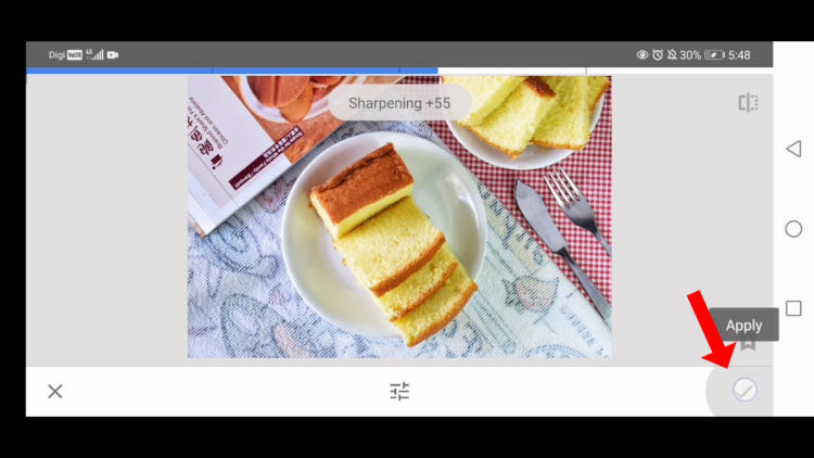 how to save editing in snapseed, edit food photo