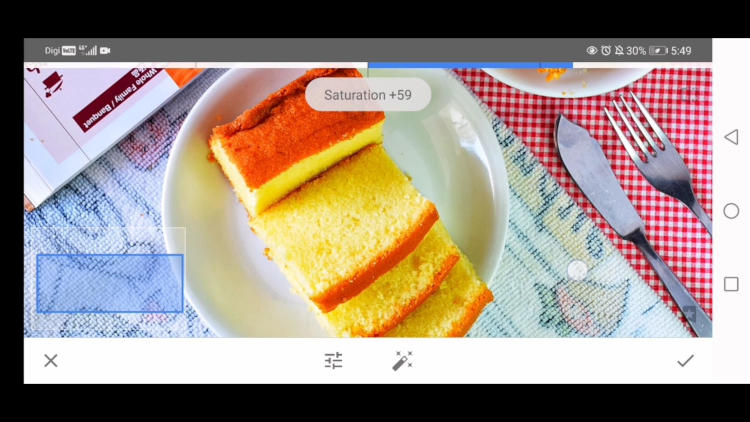 improve saturation with tune tool snapseed